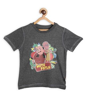 Motu Patlu by Toothless Printed Half Sleeves Tee - Dark Grey