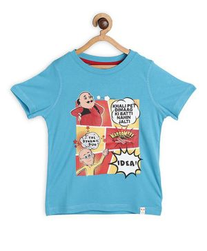 Motu Patlu by Toothless Comic Cartoon Printed Half Sleeves Tee - Light Blue