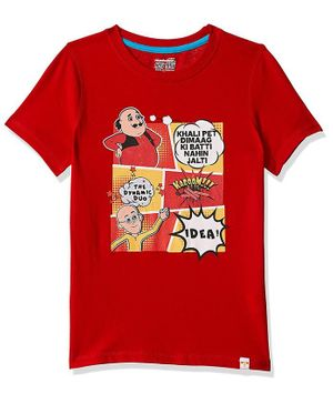 Motu Patlu by Toothless Comic Cartoon Printed Half Sleeves Tee - Red