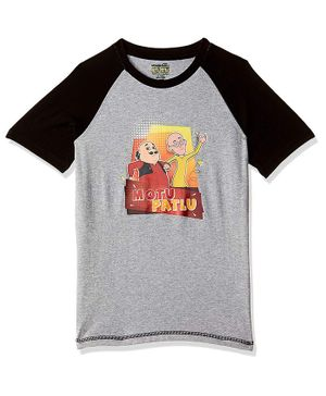 Motu Patlu by Toothless Raglan Half Sleeves Printed Tee - Grey