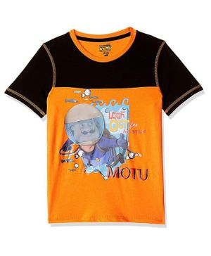 Motu Patlu by Toothless Half Sleeves Printed Tee - Yellow