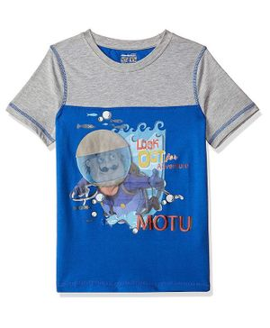 Motu Patlu by Toothless Half Sleeves Printed Tee - Blue