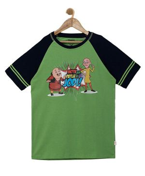 Motu Patlu by Toothless Raglan Half Sleeves Cartoon Printed Tee - Green