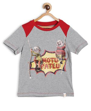 Motu Patlu by Toothless Half Sleeves Printed Tee - Grey