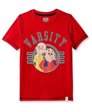 Motu Patlu by Toothless Half Sleeves Varsity Printed Tee - Red