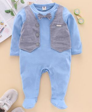 ToffyHouse Full Sleeves Footed Romper Bow Applique - Blue
