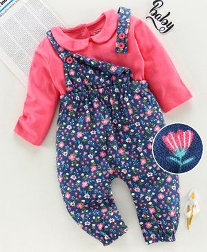 Babyhug Full Length Dungaree with Inner T-Shirt Floral Print - Pink Blue