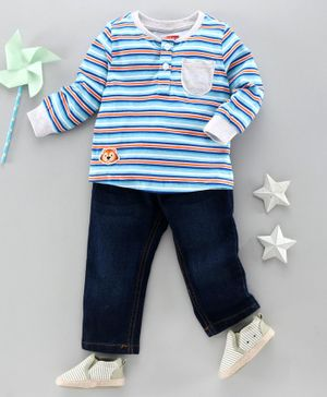 Babyhug Full Sleeve Striped Tee and Denim Jeans Set - Blue