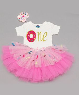 TINY MINY MEE Donut One Print Half Sleeves Onesie With Skirt & Headband - White & Pink