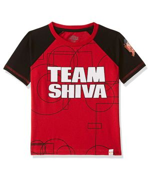 Shiva by Toothless Printed Half Sleeves Tee - Red