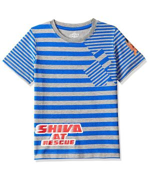 Shiva by Toothless Striped Half Sleeves Tee - Blue