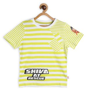 Shiva by Toothless Striped Half Sleeves Tee - Green