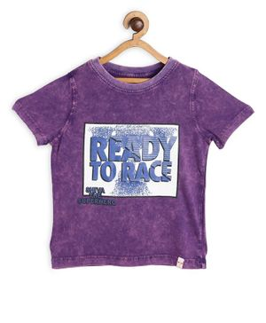 Shiva by Toothless Ready To Race Printed Half Sleeves Tee - Purple