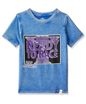Shiva by Toothless Ready To Race Printed Half Sleeves Tee - Blue