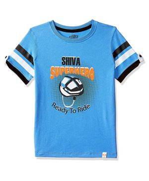 Shiva by Toothless Ready To Ride Printed Half Sleeves Tee - Blue