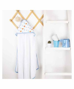 Kicks & Crawl Dino Friends Muslin Hooded Towel - White Blue