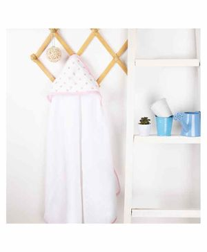 Kicks & Crawl Baby Stars Muslin Hooded Towel - White Pink