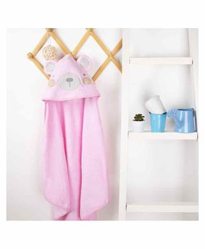 Kicks & Crawl Bear Design Hooded Towel - Pink