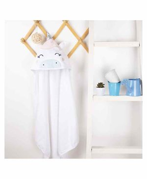 Kicks & Crawl Unicorn Design Hooded Towel - White