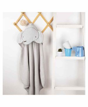 Kicks & Crawl Elephant Design Hooded Towel - Grey