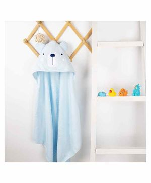 Kicks & Crawl Bear Design Hooded Towel - Blue