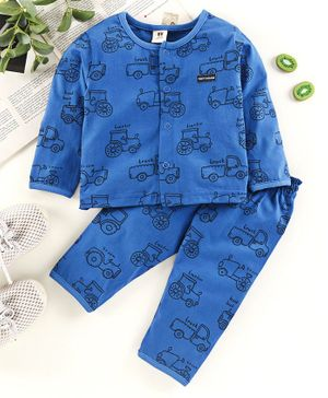 ToffyHouse Full Sleeves Night Suit Vehicle Print - Blue