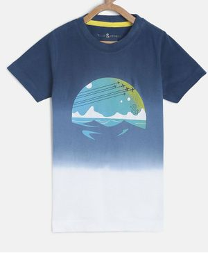 Tales & Stories Half Sleeves  Printed T-shirt - Navy Blue