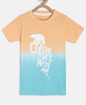 Tales & Stories Half Sleeves Polar Bear Print T-Shirt - Peach