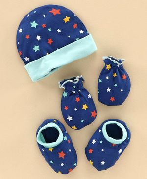 Babyhug 100% Cotton Cap Mitten and Booties Set Blue - Diameter 11 cm