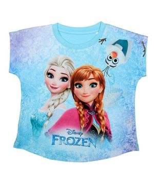 Disney By Crossroads Short Sleeves Frozen Graphic Print Top - Blue