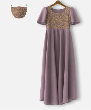 HEYKIDOO Half Sleeves Flower Embroidered Net Yolk Gown & Matching Mask - Dusty Purple