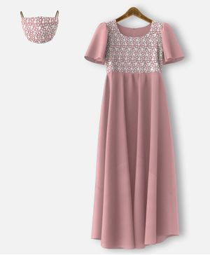 HEYKIDOO Half Sleeves Flower Embroidered Net Yolk Gown & Matching Mask - Light Pink