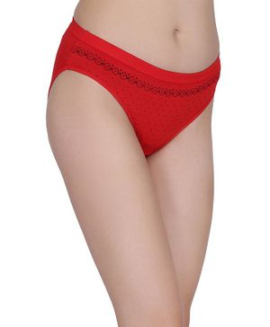Fashiol Women Seamless Stretchable Printed Panties- Red