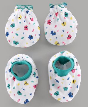 Babyhug 100% Cotton Mittens & Booties Set Floral Print - White Green