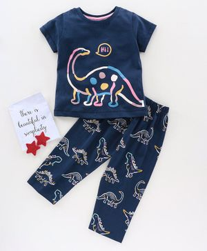 Teddy Half Sleeves Night Suit Dino Print - Navy