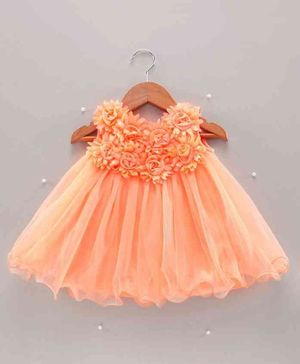 Bluebell Sleeveless Party Wear Frock Floral Embellishment - Peach