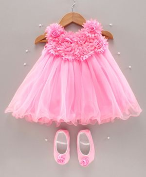 Bluebell Sleeveless Party Wear Frock With Booties Floral Embellishment - Pink
