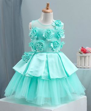 Bluebell Sleeveless Party Frock with Floral Embellished Bodice - Mint