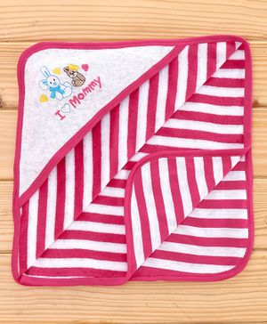 Pink Rabbit Cotton Hooded Striped Towel - Pink