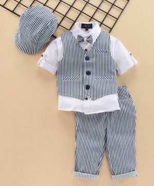 Robo Fry Full Sleeves 3 Piece Striped Party Suit with Cap - White Blue
