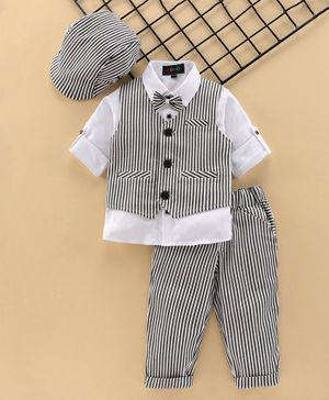Robo Fry Full Sleeves 3 Piece Striped Party Suit with Cap - White Black