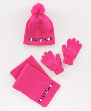 Disney Minnie Mouse Woollen Cap Set - Pink