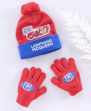 Disney Pixar Cars Woollen Cap and Gloves Red - Diameter 9 cm