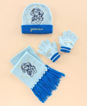Disney Jasmine Woollen Cap and Set Blue - Diameter 11.5 cm