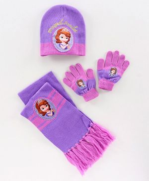 Disney Sofia Woollen Cap and Set - Purple