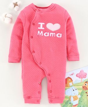 Mom's Love Full Sleeves Romper Text Embroidery - Rose Pink