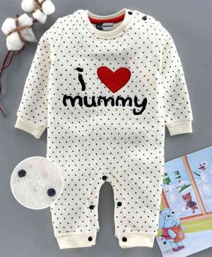 Mom's Love Full Sleeves Striped Romper Heart Embroidery - White