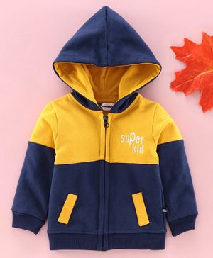 Mom's Love Full Sleeves Hooded Sweat Jacket - Navy