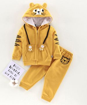 Mom's Love Full Sleeves Sweat Jacket & Lounge Pant Tiger Patch - Yellow