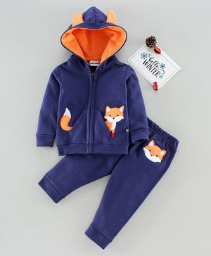 Mom's Love Full Sleeves Winter Wear Hooded T-Shirt & Lounge Pants Fox Patch Print - Navy Blue